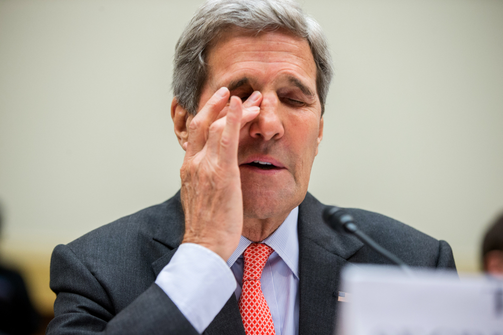 Secretary of State John Kerry appears Tuesday before the committee hearing the Iran nuclear agreement. Kerry was visibly frustrated at times.