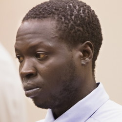 Gang Deng Majok, 30, is arraigned Wednesday at the Cumberland County Courthouse on murder charges.