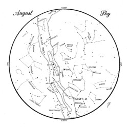 SKY GUIDE: This chart represents the sky as it appers over Maine during August. The stars are shown as they appear at 10:30 p.m. early in the month, at 9:30 p.m. at mid-month and at 8:30 p.m. at month's end. Saturn is shown in its mid-month position. To use the map hold it vertically and turn it so that the direction you are facing is at the bottom.