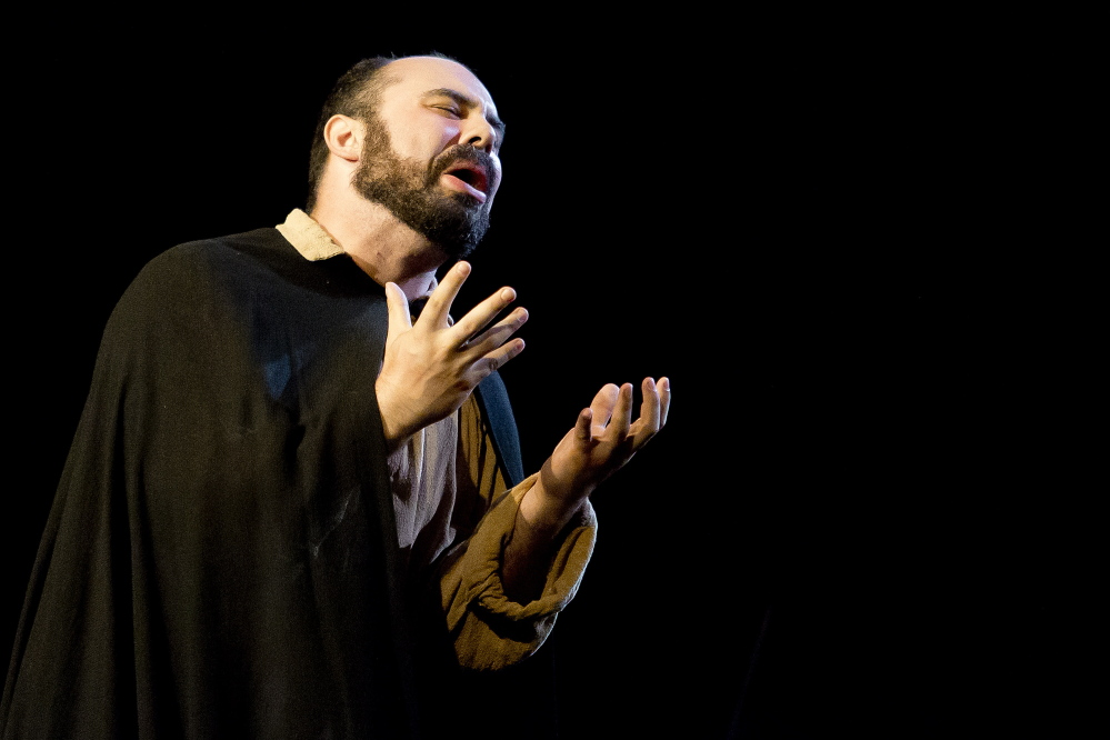 """PORTLAND, ME - JULY 28: Robert Mellon as Angelotti performs during a dress rehearsal of PORTopera's """"Tosca"""" at Merrill Auditorium Tuesday, July 28, 2015. (Photo by Gabe Souza/Staff Photographer)"""