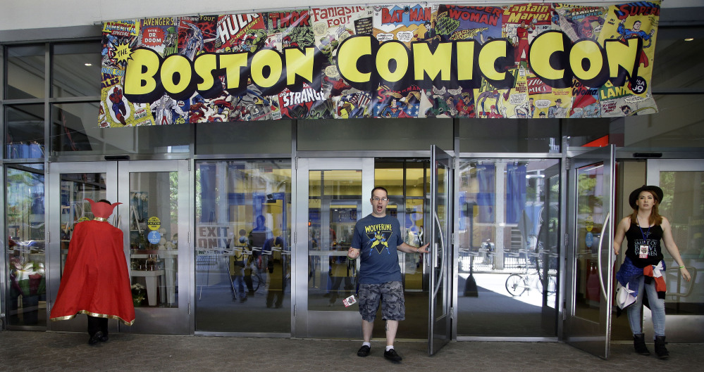 Participants arrive Friday for Comic Con at the Seaport World Trade Center in Boston. The convention runs through Sunday.