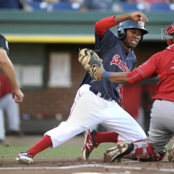 Manuel Margot of the Portland Sea Dogs gets thrown out at the plate as Harrisburg catcher Pedro Severino applies the tag Friday night during Harrisburg's 9-4 victory at Hadlock Field. Margot was trying to score on a grounder by Sam Travis but was thrown out by pitcher Matt Purke.