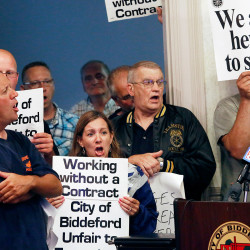 Union members from the Biddeford police and public works departments voice their concerns at a City Council meeting on Tuesday evening. Derek Davis/Staff Photographer