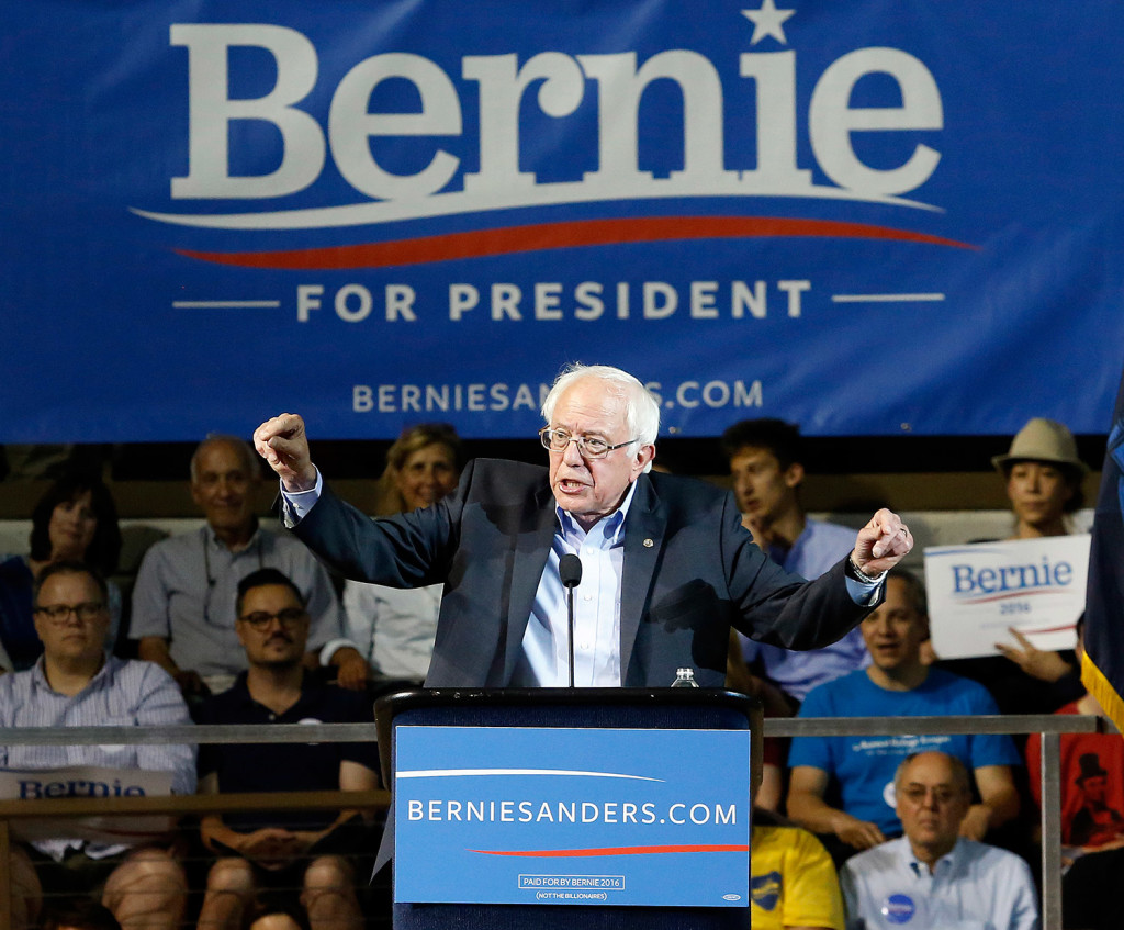 Sen. Bernie Sanders of Vermont speaks to the crowd of thousands Monday night at the Cross Insurance Arena. He praised last month's Supreme Court ruling effectively legalizing same-sex marriage nationwide.