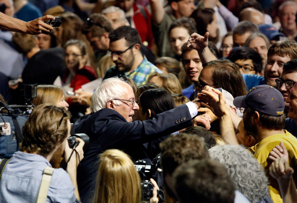Vermont Sen. Bernie Sanders greets supporters after speaking to a crowd of thousands at the Cross Insurance Arena.