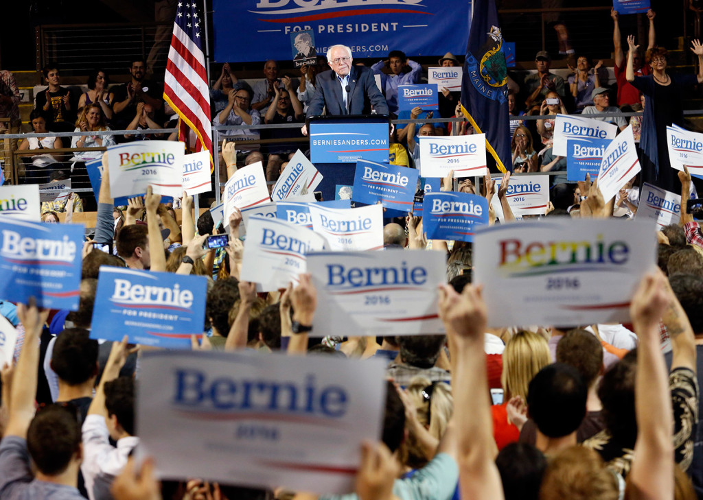 Bernie Sanders told the crowd at the Cross Insurance Arena that he would hold Wall Street more accountable, fight for guaranteed family leave and vacation time, push for universal health care, and invest more money in schools and less in prisons.