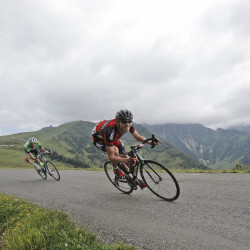 Tejay van Garderen of the U.S., right, and Netherlands' Laurens ten Dam, left, speed down Val Louron Azet pass during the seventeenth stage of the 2014 Tour de France on Wednesday, July 23, 2014.