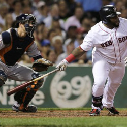 Boston's Pablo Sandoval heads down the first base line on an RBI single in the fifth inning against the Houston Astros at Fenway Park on Friday. The Associated Press