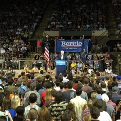 Monday's campaign appearance by Bernie Sanders filled the Cross Insurance Arena in Portland. Kevin Miller/Staff Writer