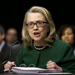 Then-Secretary of State Hillary Clinton testifies on Capitol Hill on Jan. 23, 2014, before the Senate Foreign Relations Committee hearing on the deadly attack on the U.S. diplomatic mission in Benghazi, Libya. The Associated Press