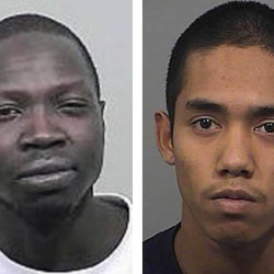 Gang Deng Majok, left, and Johnny Ouch, right, are charged in the killing of Treyjon Arsenault in a Portland recording studio in May.