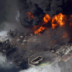 The Deepwater Horizon oil rig burns in the Gulf of Mexico, more than 50 miles southeast of Venice, La., in April 2010. The Associated Press