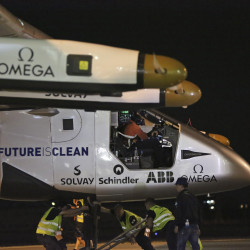 The Solar Impulse 2 is prepared as pilot Andre Borschberg sits in the cockpit in Japan before the flight for Hawaii.