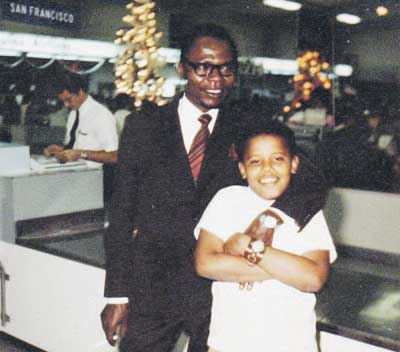 Barack Obama with his father, Barack Obama Sr., in a family snapshot from the 1960s. Reuters
