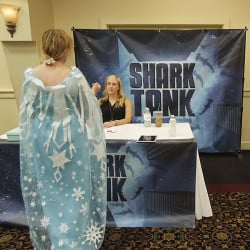 Christina Carlson of Massachusetts makes a pitch for a play called The Ice Queen to Casting Manager Mindy Zemrak during a casting call for the television show Shark Tank at the Italian Heritage Center on Tuesday. Gregory Rec/Staff Photographer