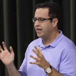 Subway frontman Jared Fogle speaks to students about healthy eating and exercise at Battle Academy in Chattanooga, Tennessee, in this 2013 photo. Dan Henry/Chattanooga Times Free Press via AP