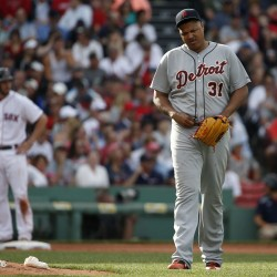 Detroit Tigers' Alfredo Simon (31) reacts after a triple by Boston Red Sox's Blake Swihart, left, during the fifth inning Saturday. (AP Photo/Michael Dwyer)