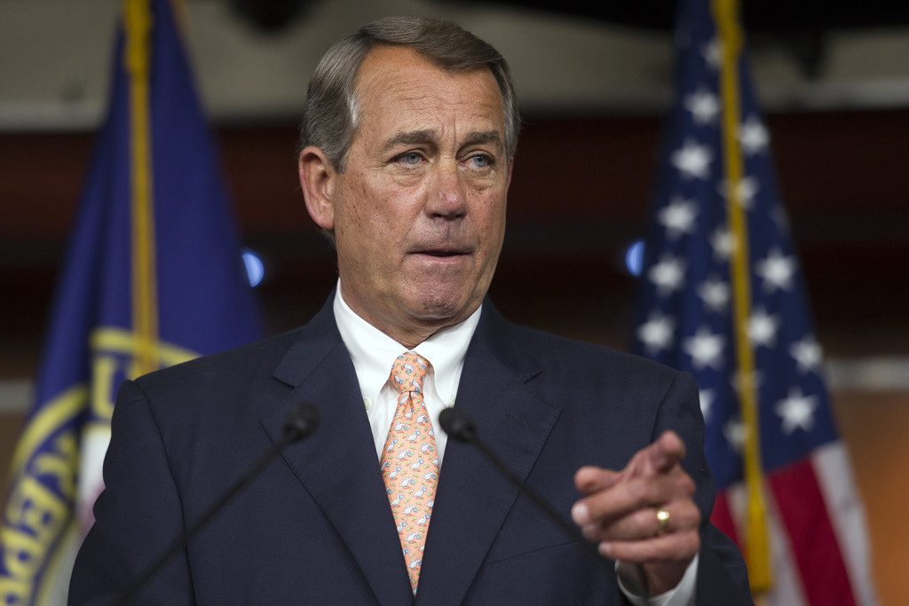 In this July 9, 2015 file photo, House Speaker John Boehner of Ohio gestures during a news conference on Capitol Hill in Washington. The Associated Press