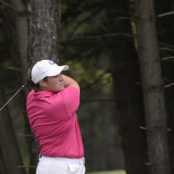 Emily Bouchard of the Biddeford-Saco Country Club tees of on the fourth hole Wednesday.
