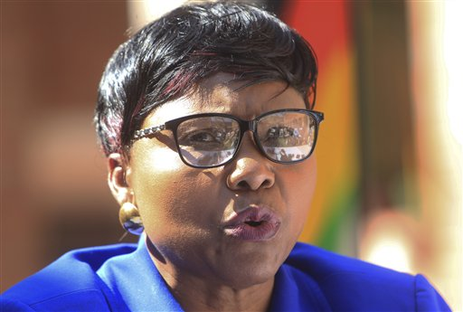 Oppah Muchinguri, the Zimbabwean minister of  environment, water and climate, addresses a  press conference in Harare Friday.