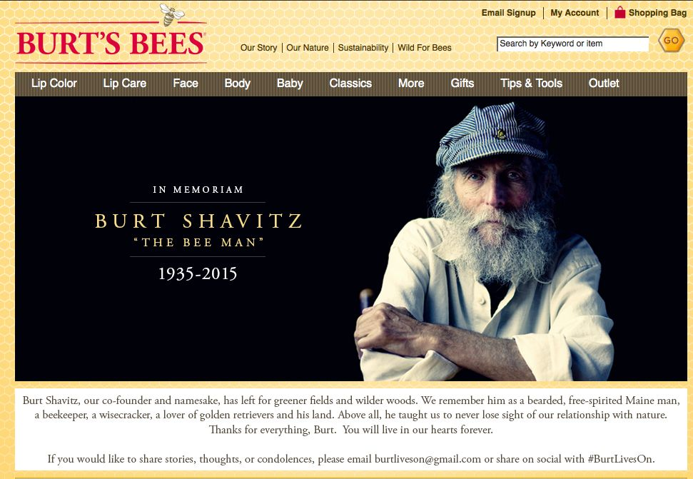 The homepage of Burt's Bees website features a memorial photo of Burt Shavitz. Screen image