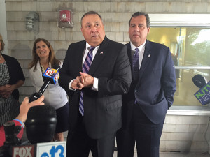 Gov. Paul LePage and Gov. Chris Christie at Becky's in Portland Wednesday morning