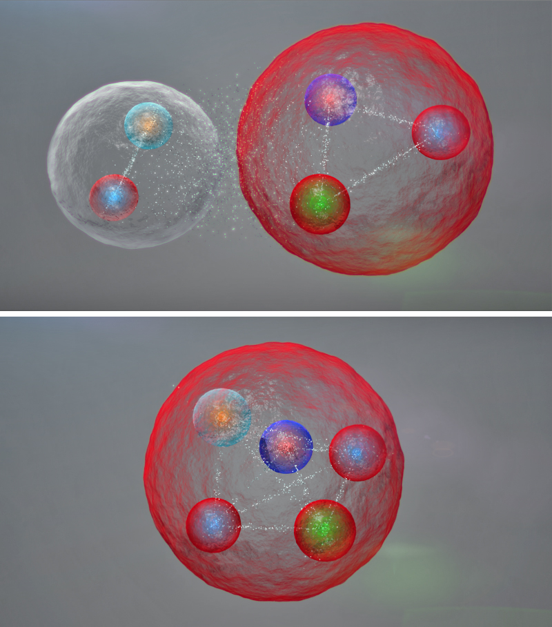 Illustration of the possible layout of the quarks in a pentaquark particle such as those discovered at CERN. They might be assembled into a meson (one quark and one antiquark, top image, left) and a baryon (three quarks), weakly bound together. The five quarks might also be tightly bonded, as above. CERN / LHCb Collaboration photo