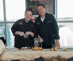 DiMillo's Chef Melissa Bouchard and Johnny DiMillo prepare delicious appetizers for the over 300 guests at the Mercy Gourmet Gala and Chopped Challenge for Gary's House.