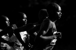 Micah Kogo of Kenya, at far right, leads a pack of elite male runners during the early stages of the TD Beach to Beacon. Third from the right is eventual winner Stephen Koskei Kibet. Kogo finished fifth.
