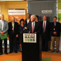 "Sen. Angus King speaks at Wednesday's event at Idexx Laboratories. He said, ""We have people with talent who are looking for jobs and we've got businesses looking for people with talent, and the whole idea of this initiative is to put them together."""