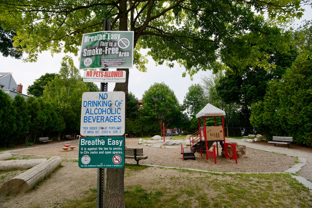 """Portland police have responded to the surge in heroin use by stepping up foot and bike patrols in key areas including Peppermint Park. One woman referred to the small park in East Bayside as """"Needle Park."""" Shawn Patrick Ouellette/Staff Photographer"""