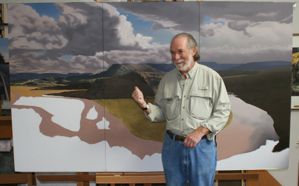 Tom Crotty, who was known for his realistic seascapes and winter scenes, is shown with a work in progress in Santa Fe, New Mexico, in 2003.