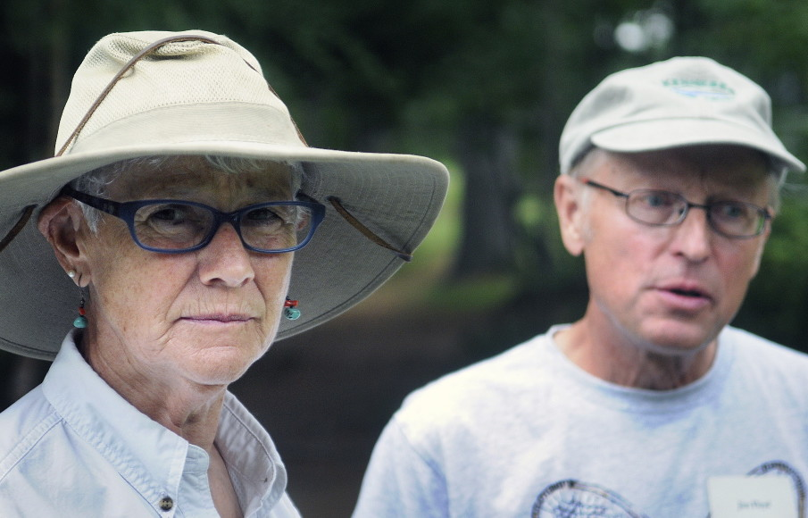 Muffy and Jim Floyd of Vienna who donated an easement around their property to the Kennebec Land Trust that pushed the organization's holdings over the 5,000-acre mark, attend the meeting in Fayette on Sunday.
