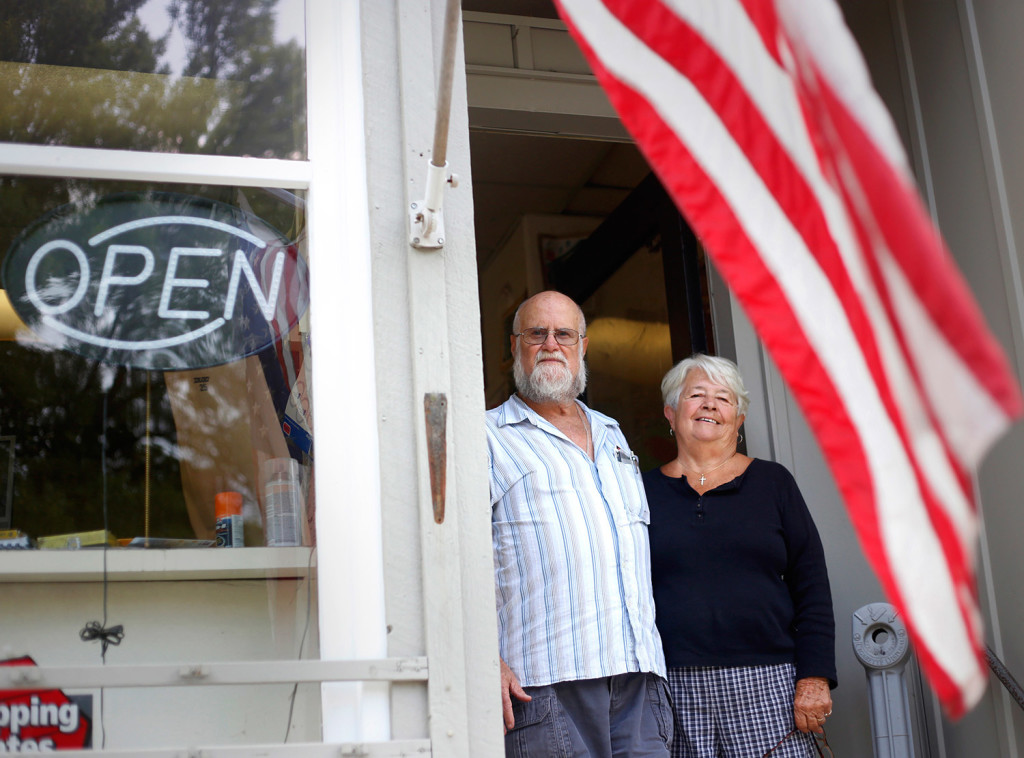 Butch and Jean Goff close the doors to their hardware store after forty-six years.