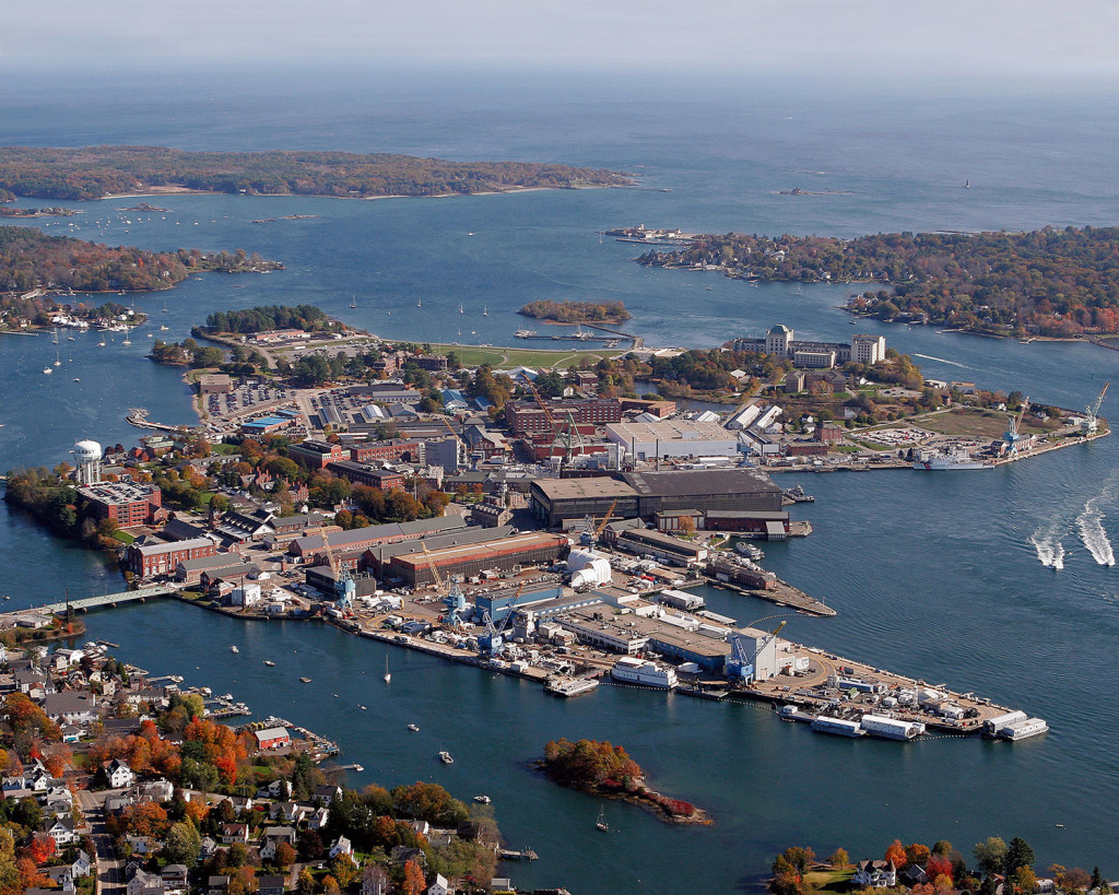 An aerial view of the Portsmouth Naval Shipyard in Kittery. Civilian federal workers, such as those who work at the shipyard, might be furloughed if the government shuts down this weekend.