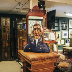 A wooden bust of seventh President Andrew Jackson is among the items at Thomaston Place Auction Galleries in Thomaston.