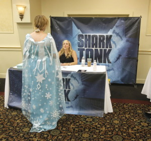 "Christina Carlson of Massachusetts makes a pitch for a play called ""The Ice Queen"" to ""Shark Tank"" casting manager Mindy Zemrak during a casting call Wednesday in Portland. Casting agents for the reality TV show that rewards promising entrepreneurs with financing listened to pitches from more than 300 people. The show is looking for contestants for an upcoming season. Gregory Rec/Staff Photographer"