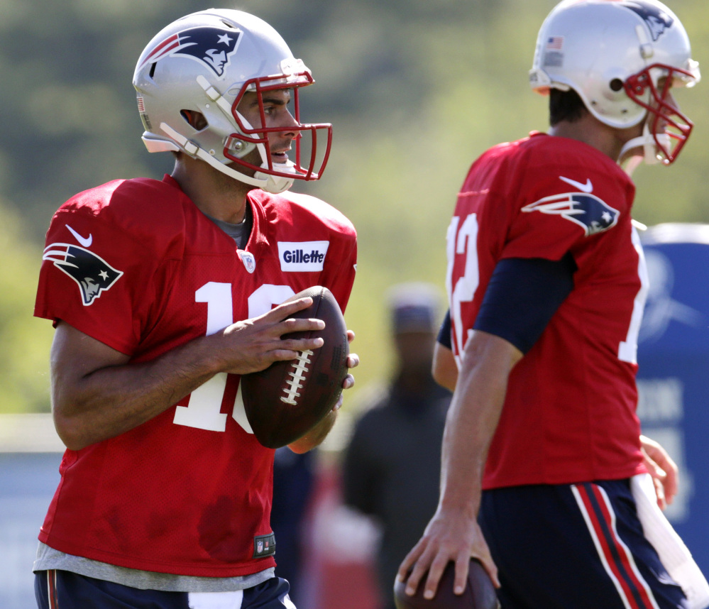 Backup Jimmy Garoppolo may not be behind Tom Brady come September, when the Patriots begin their Super Bowl defense  with their superstar quarterback possibly serving a four-game suspension for his role in the Deflategate saga.