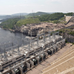 The Jean-Lesage hydroelectric dam generates power north of Baie-Comeau, Quebec. Five pending large-scale hydro projects in Canada could lower the Northeast's high power prices.