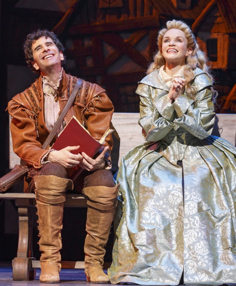 "John Cariani and Kate Reinders play the roles of lovers in ""Something Rotten!""  Reinders says singing with Cariani is ""just fun and kind of wonderful."""