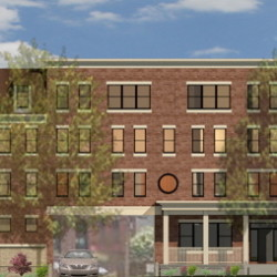 An architect's rendering shows the affordable housing project proposed for 17 Carleton St. in Portland. The building would have 12 efficiencies, 23 one-bedrooms and two two-bedroom apartments, with efficiencies renting for $540 a month.