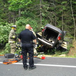 A Massachusetts woman, Arthi Nandhakumar, died Saturday when the car her husband was driving overturned in Southwest Harbor. The husband and the couple's infant daughter suffered minor injuries.
