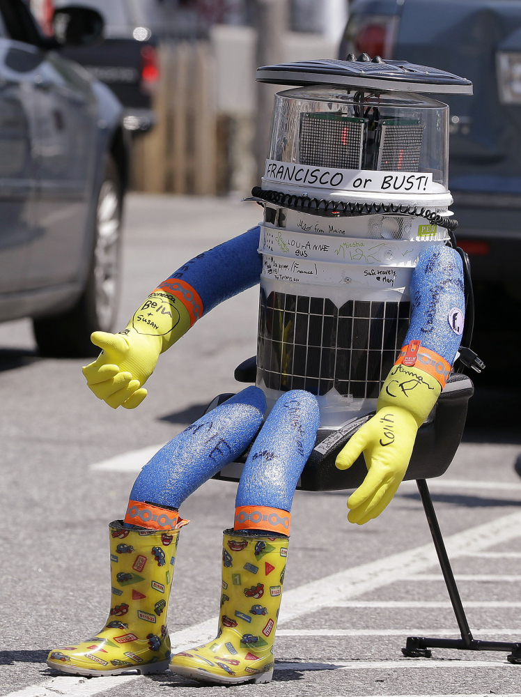 HitchBOT, hitchhikes in Marblehead, Mass., on July 17. The robot's last driver says the video he has posted consists of surveillance footage.