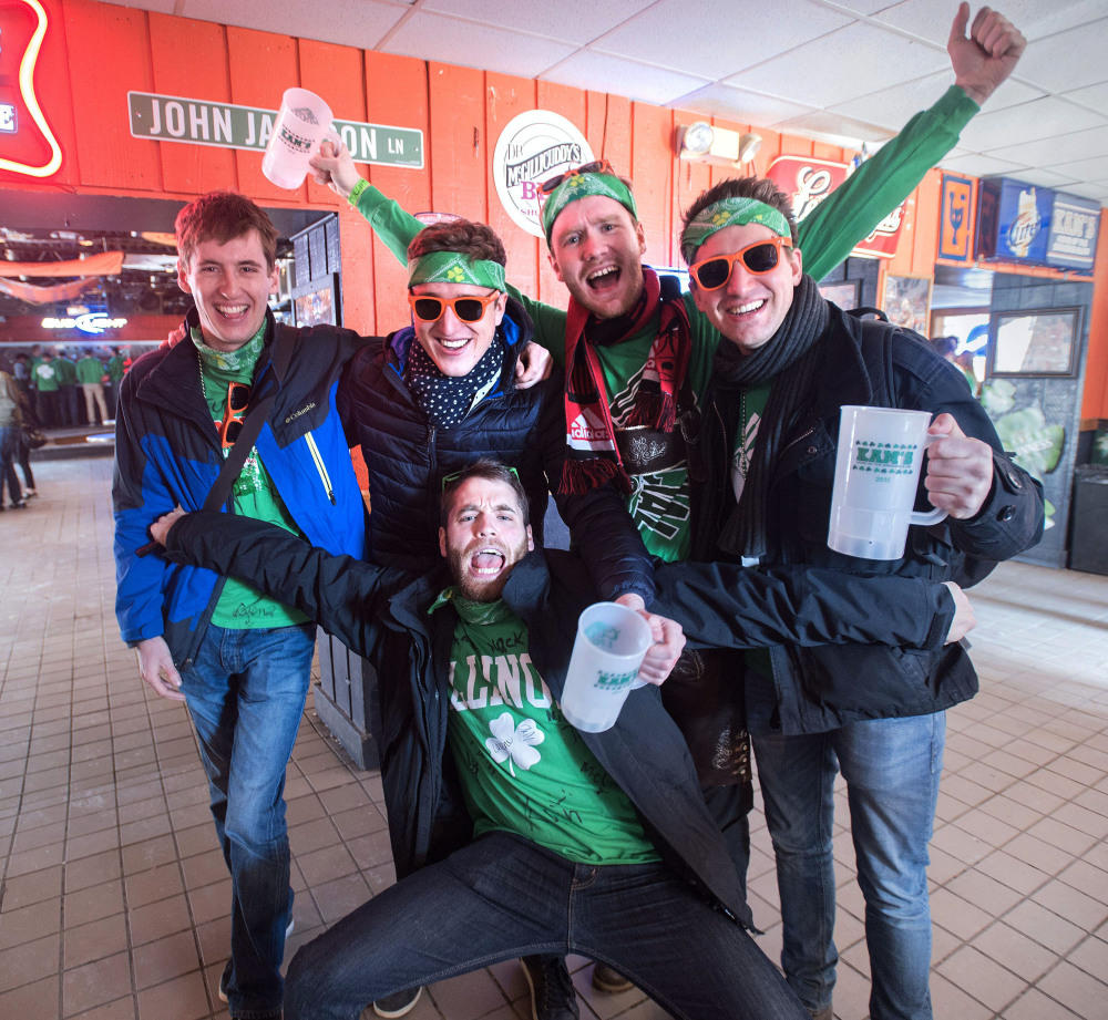 St. Patrick's Day bargoers celebrate at Kam's in Champaign, Ill. The University of Illinois partied its way into the top spot on an annual list of top party schools in the country.