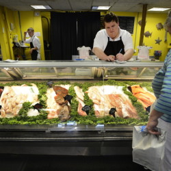 Spencer Coll is a retail associate at Free Range Fish & Lobster in Portland. Shawn Patrick Ouellette/Staff Photographer