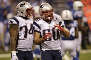 Patriots defensive ends Dominique Easley, left, and Rob Ninkovich celebrate a touchdown against the Colts last November. Easley was shut down late in the season to get healthy.