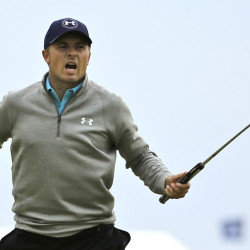 Jordan Spieth reacts after a birdie on July 20 during the final round of the British Open, where he finished a shot back, ending his Grand Slam bid.
