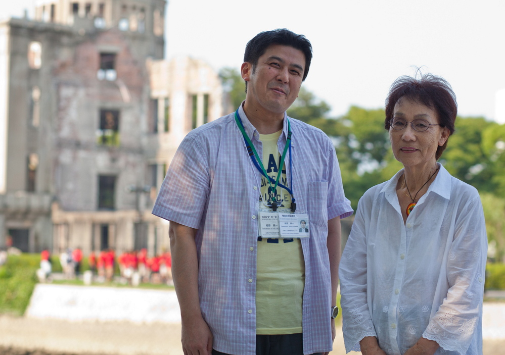 Yasukazu Narahara, left, and Emiko Okada visit Hiroshima Peace Memorial Park in Japan on Tuesday.