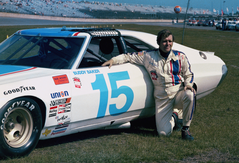 This is a 1975, file photo showing race car driver Buddy Baker at Daytona Speedway in Daytona Beach, Fla.