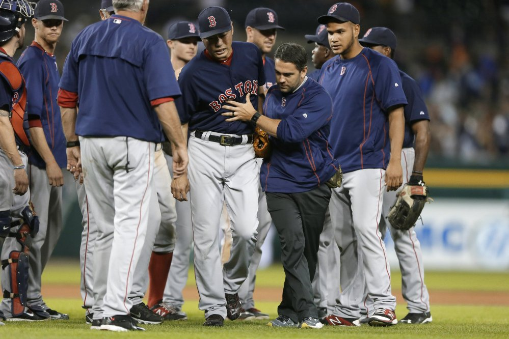 Red Sox relief pitcher Koji Uehara has a broken right wrist and will miss the remainder of the regular season, the team announced Monday. Uehara was hit by a line drive by Detroit's Ian Kinsler on Friday.
